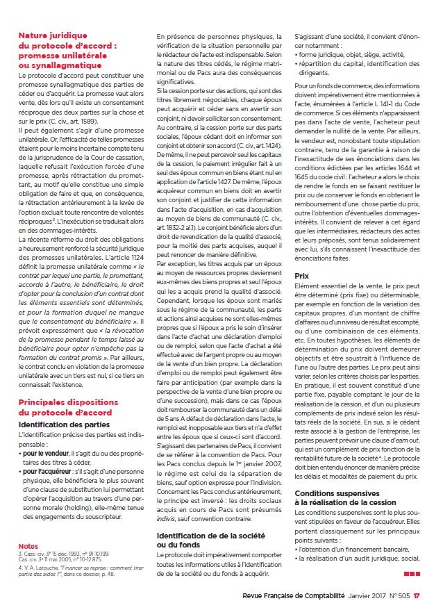 Aspects juridiques de la cession d'entreprise 2